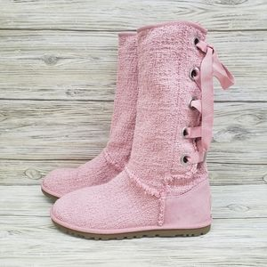 Ugg Pink Heirloom Tweed Lace Up Boots